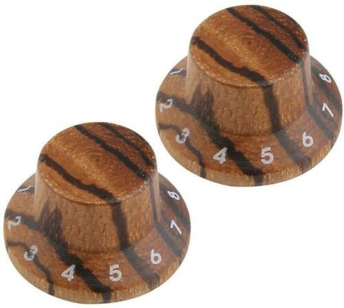 *NEW 2 Wood Bell CONTROL KNOBS for Gibson Les Paul Strat Push On Zebra