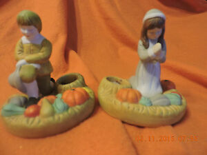 1987 House Of Lloyd Thanksgiving Prayer Taper Holders 310332 Pilgrim Candle