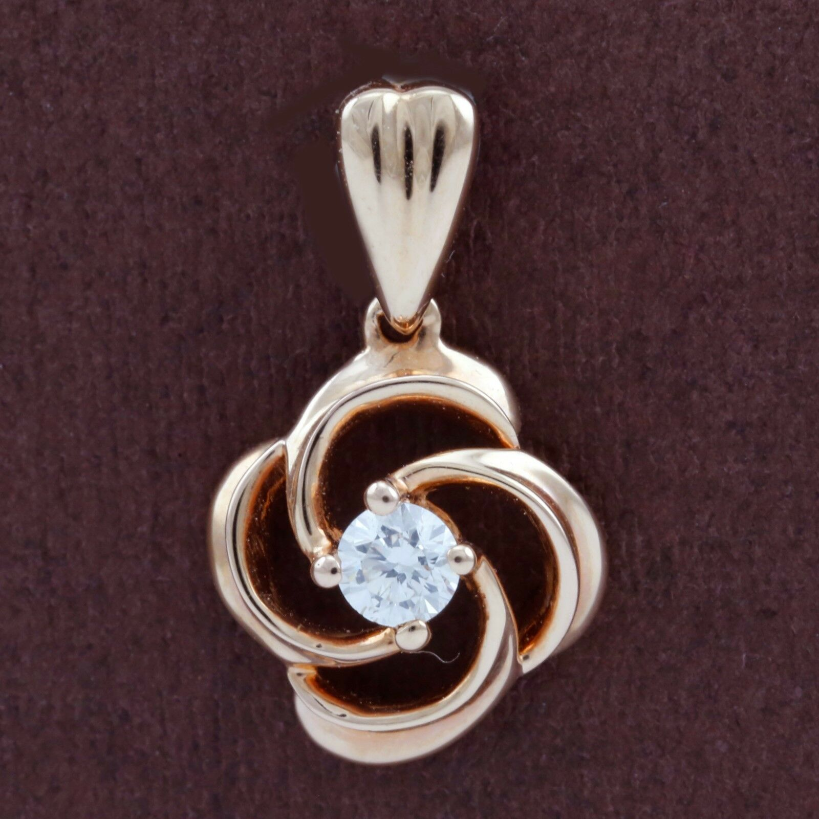 Genuine 18CT Solid pink gold Genuine Diamond Pendant