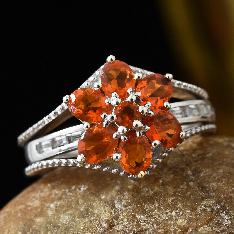 12d59e239 Salamanca Opal, White Topaz Platinum Over SS Bridge ring size 10 Fire  Floral nwzuja1699-Gemstone
