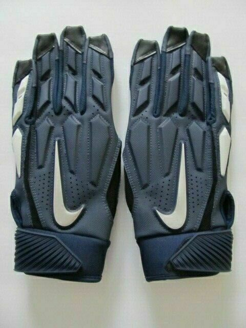 Nike D-Tack 6.0 Lineman Football Gloves College Navy/Chrome Men's Large