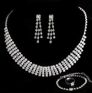 4tlg-Estras-Juego-ESPOSA-Boda-Collar-cadena-pendiente-de-boton-anillo-pulsera