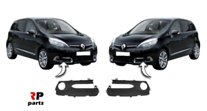 FOR RENAULT SCENIC 2012-2016 NEW FRONT BUMPER FOGLIGHT GRILLE BLACK PAIR SET