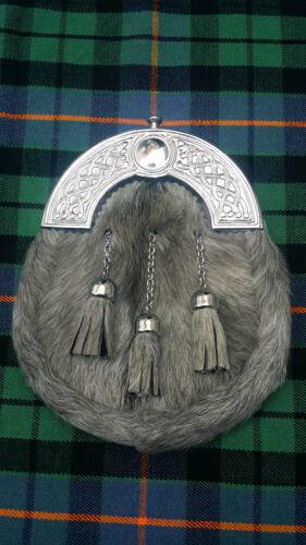 Men's Scottish Kilt Sporran Grey Bovine Celtic Cantle//Kilt Sporran Grey Cowhide
