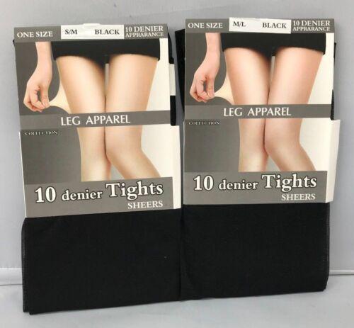 LADIES ONE PAIR LEG APPAREL 10 DENIER APPRANCE TIGHTS SHEERS BLACK SIZE S//M M//L