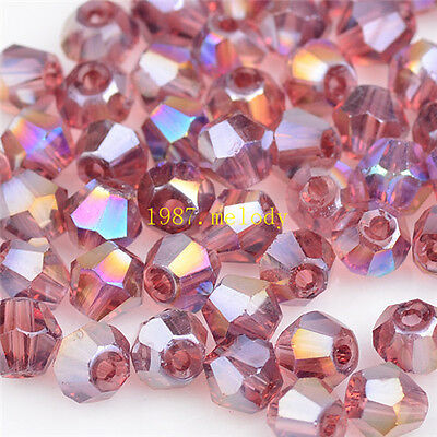 100pcs/300pcs/500pcs 4mm #5301 colorful Bicone glass crystal beads.Many color