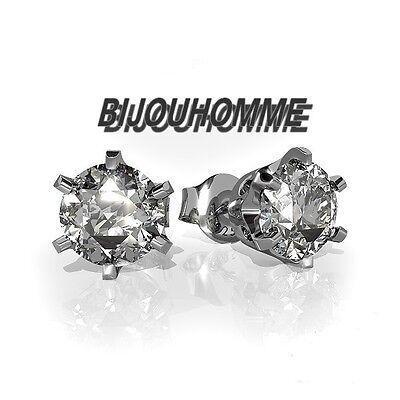 PAIRE BOUCLE D/'OREILLE HOMME ADO NEUF FERMOIR ACIER RONDE CZ DIAMS BLANC 5mm