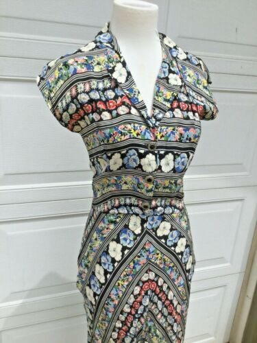 vintage 30s 40s rayon floral bias dress w 26 - image 1