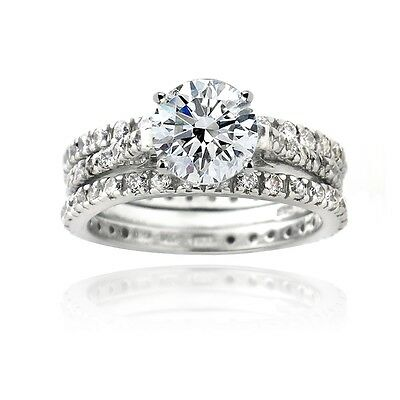 925 Silver 2ct CZ Engagement & Bridal Wedding Ring Set