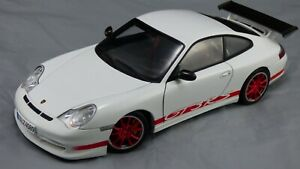 1-18-Autoart-Blanco-2004-Porsche-911-GT3-RS-996-rojo-ruedas-puertas-coche-de-juguete