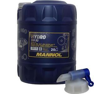 20-Liter-MANNOL-Hydraulikoel-Hydro-ISO-32-Hydraulic-Fluid-inkl-Auslaufhahn
