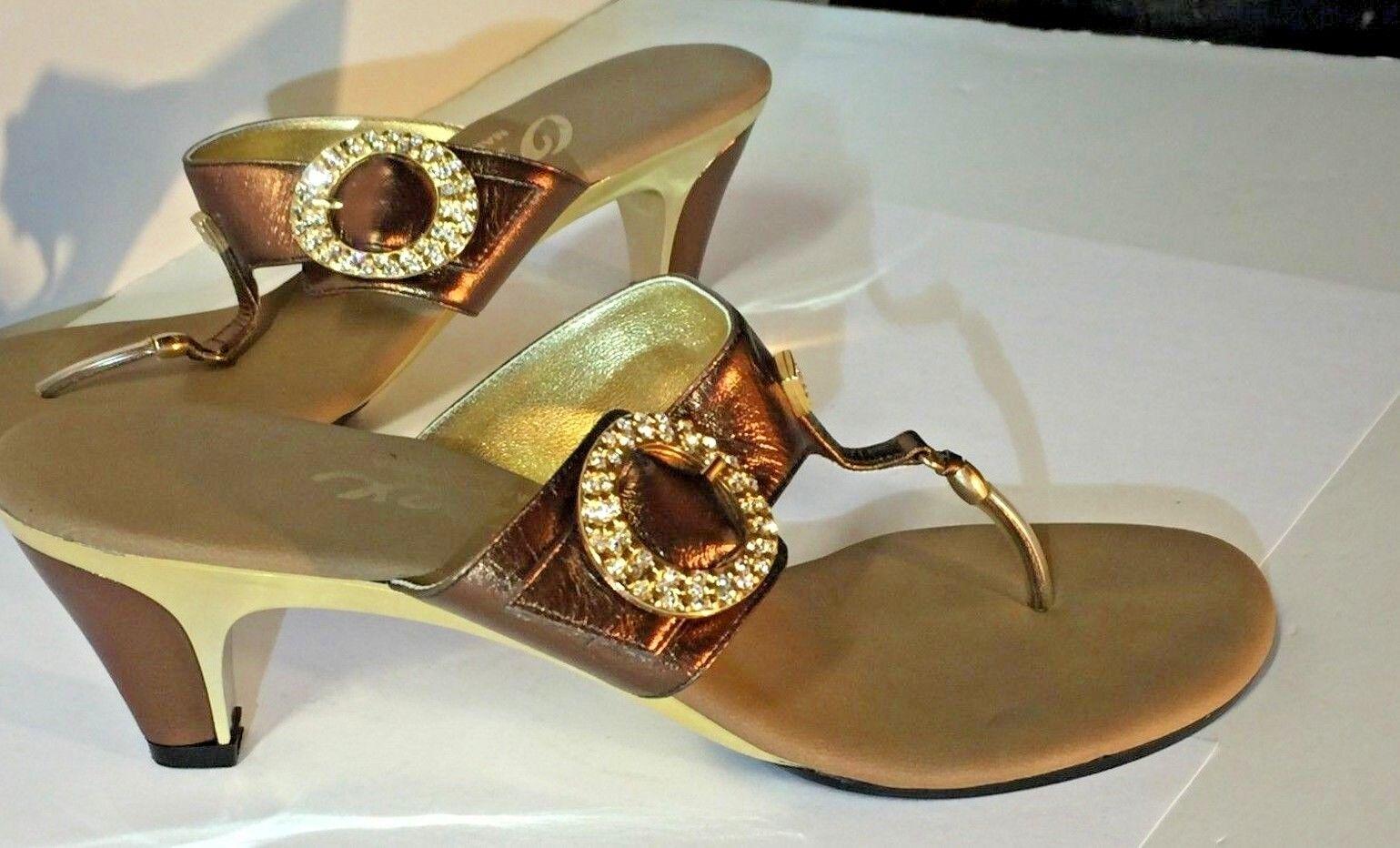 ampia selezione Onex Metallic Bronze Bronze Bronze Leather Heel Sandals Made In USA Dimensione 8  protezione post-vendita