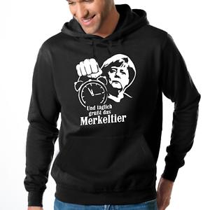 Und-taeglich-gruesst-das-Merkeltier-Angela-Merkel-Fun-Hooded-Sweatshirt