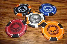 #5 Five Different Harley Davidson Motorcycle Poker Chips Skull-Willie G / Eagle
