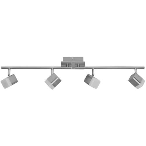 LED Deckenleuchte Schiene Spot ROUBAIX nickelfarben 4 x LEDs 16W 1600lm REALITY