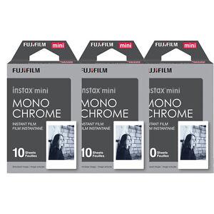 30 Prints Fujifilm Instax mini Monochrome B&W Instant Film for 9 8 70 25 SP-2