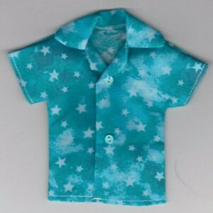 Homemade Doll Clothes-Patriotic Stars Print Shirt fits Ken Doll B9
