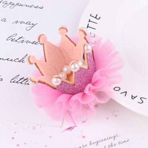 Kids Baby Girls Glittery Princess Crown Tiara Hair Clip Birthday Party Accessory