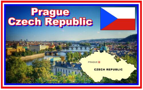 CZECH REPUBLIC MAP /& Bandeira-Imã De Geladeira Lembrança-Novo em folha-Presente PRAGUE