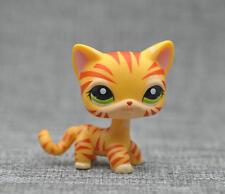 Orange Tiger Cat Kitty Short Hair Littlest Pet Shop Green Eyes Toy LPS #1451