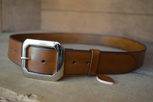 Handmade Solid Full Grain Leather Trousers Belt 38mm wide with Brass Buckle