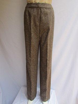 Oscar De La Renta Women Brown Beige Wool Fashion Pants Dressy Winter Trousers 10