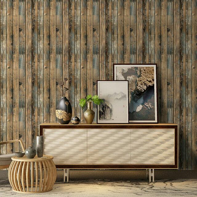 Rustic Wood Plank Wallpaper Peel Furniture Wall Stickers Bedroom Ivory Yellow For Sale Online Ebay