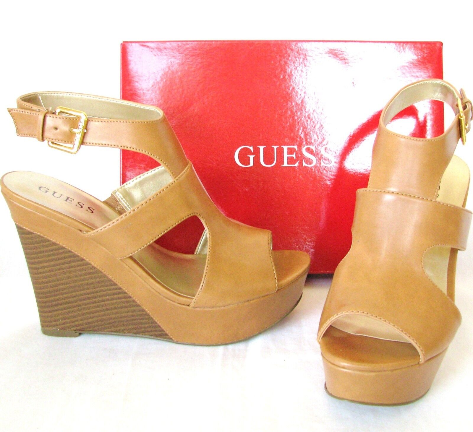 NEW GUESS SHAI BROWN LEATHERETTE CUTOUT+gold BUCKLE HEEL,WEDGES,SANDAL,SHOES+BOX