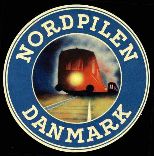 Denmark - Railway Baggage Label - Nordpilen Danmark Danish-German Route