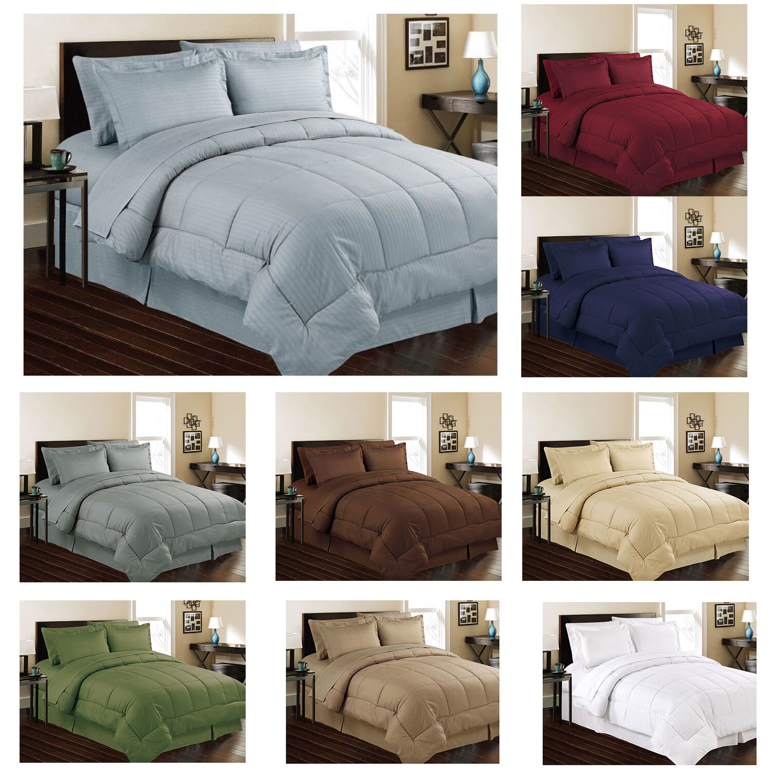 Soft Embossed Dobby Stripe 8pc Bed In Bag Comforter Sheet
