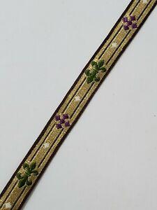 Vintage-Frances-Cruz-Diseno-Oro-Hilo-1-3cm-de-Recorte-Purpura-Verde-4-6m-Lote
