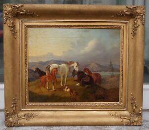 Otto-STOTZ-Ludwigsburg-1805-1873-Wien-Fuenf-Pferde-und-Hund-auf-der-Weide