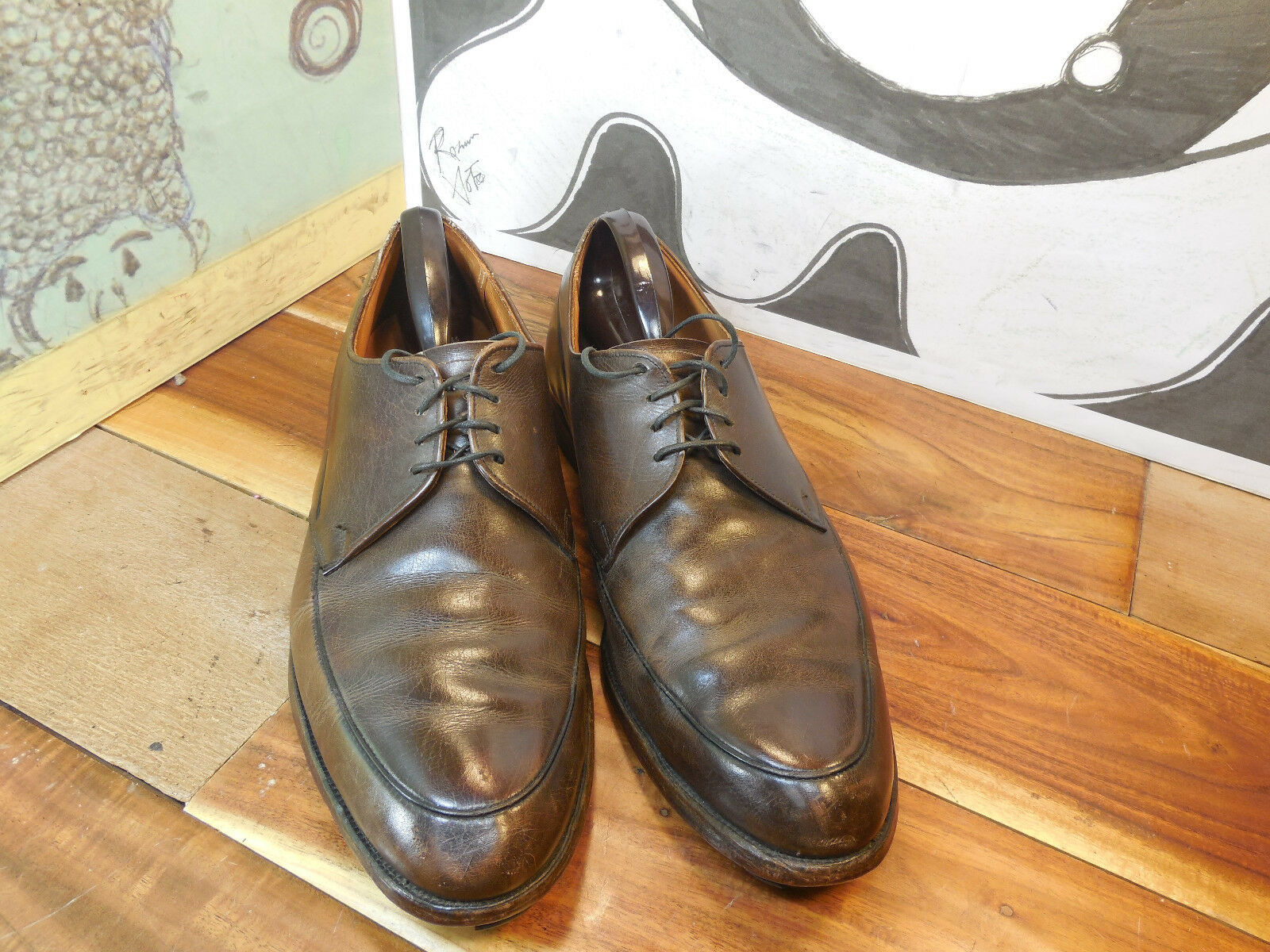 Vintage Brown Leather Leather Brown Oxfords Men's 10B/2A b54a7a