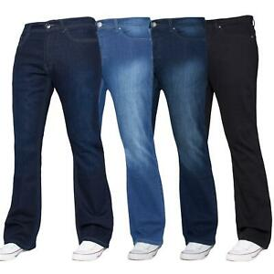 Enzo-Designer-Mens-Bootcut-Flared-Jeans-Stretch-Wide-Leg-Denim-Pants-All-Sizes