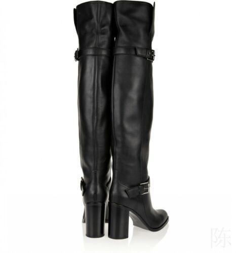 Mode Damenstiefel Unifarbe Blockabsatz Schlupf Gothic Schnenkelhohe Stiefel Neu