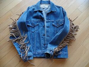 various colors famous brand cheapest price Men's M HAND MADE jean jacket w/suede fringe, JENSEN & SMITH ...