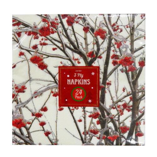 Noël Papier Imprimé 3 Plis Serviettes 6 modèles élégants-Pack de 24