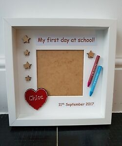 Personalised My First Day At School Box Photo Frame Heart Crayons
