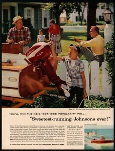1957 Johnson Sea Horse Outboard Motors Boat Family Vintage Ad Ebay