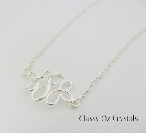 Forever Love Symbol Triple Infinity Solid Sterling Silver Necklace