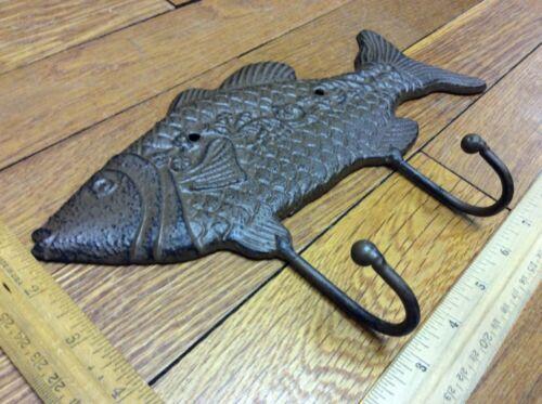 Large 10-3//4 FISH COAT HOOK Cast Iron Rustic Antique Vintage Style Wall Hat Rack