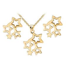 Gold 4 Stars Stainless Steel Stud Earrings Necklace Pendant Jewellery Set S815