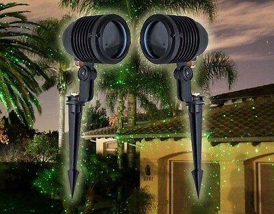 2 Green Blisslights Spright Outdoor Holiday Projector