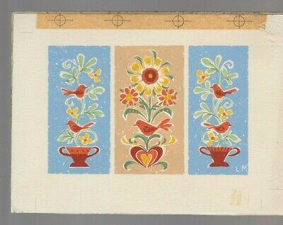"Brilliant Triptych Birds & Flowers 8x6"" #6629 Greeting Card Art Comics"