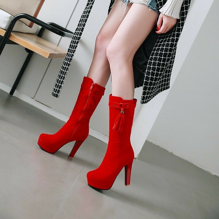 Red Women's Fringe Mid Calf Boots Platform Buckle High Block Heel Party shoes