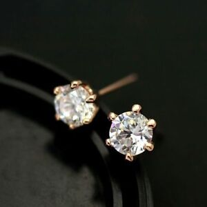 New-18K-Rose-Gold-White-Gold-GF-6MM-Classic-Lab-Diamond-Stud-Earrings-Stunning