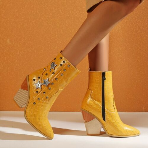 Ladies Pointed Toe Block High Heel Knight Ankle Boots Fashion Sanke Rivet Shoes