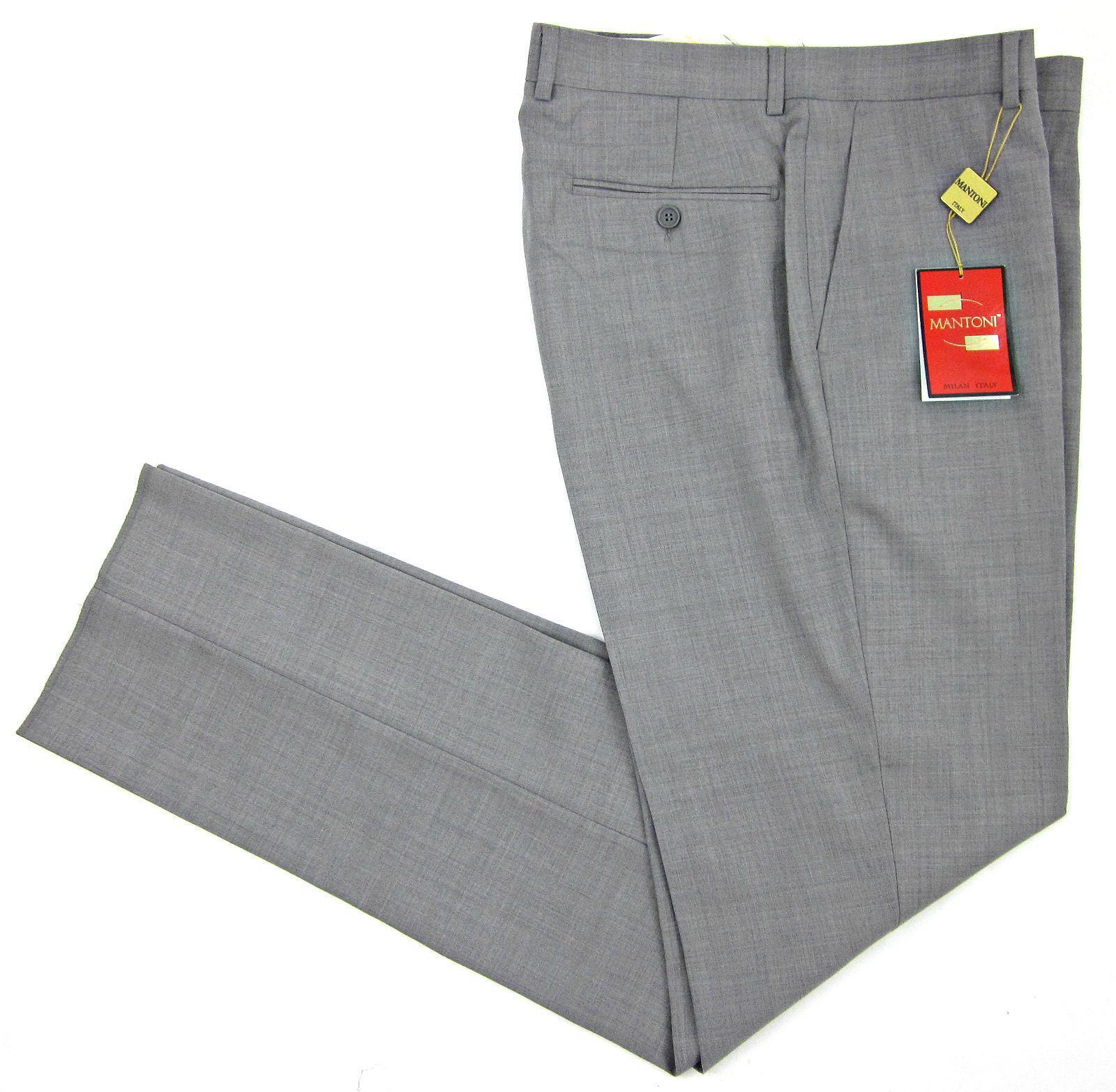 NEW  Mantoni Euro Slim Flat Front Wool Dress Pants Grey 36 Unhemmed