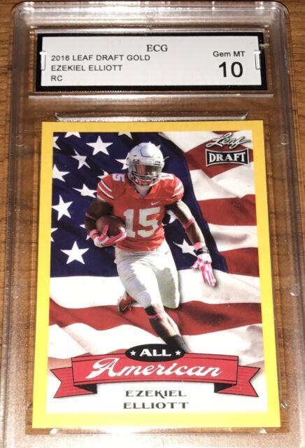 2016 Ezekiel Elliott Leaf Draft All American Gold RC CARD#6 GRADED GEM MINT 10