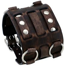 Nemesis WB-BV Wide Faded Brown Leather Tri Clasp Cuff Wrist Watch Band